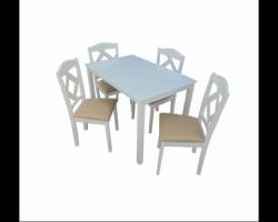 طاولات طعام مقاس 4 كراسي لون ابيض وبني عصريه