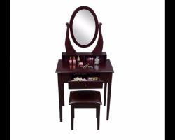 طاولة تسريحه بناتي أنيقة مع مرآة ودرج ومقعد والتوصيل مجان